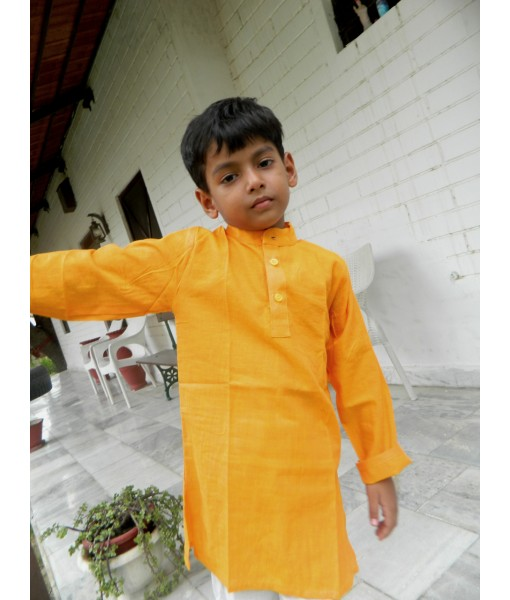 Kid's Kurta South Cotton Solid Yellow ...