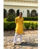 Mens Kurta Ethnic Print Yellow