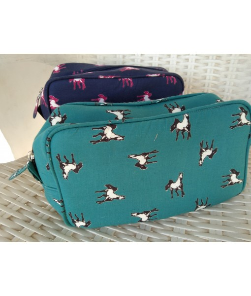 InMyWardrobe Utility Pouch - Horse Print - Teal Blue Color