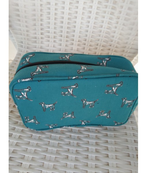 InMyWardrobe Utility Pouch - Dog Print - Teal Blue Color